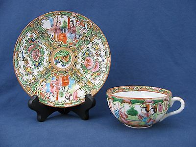 19th Century Chinese Famille Rose Medallion Cup & Saucer