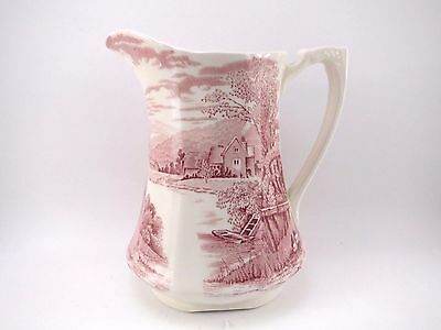 "Alfred Meakin 6"" Pitcher Red Transferware TINTERN VGUC Vintage Porcelain China"