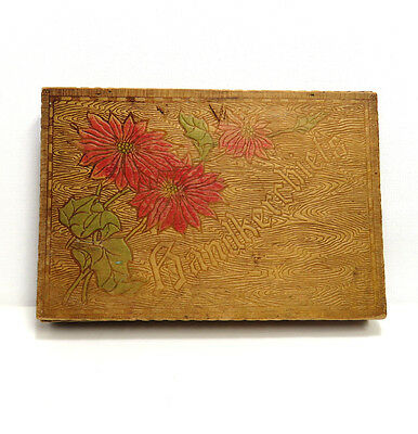 Antique Pyrography Handkerchief Hinged Wooden Box Tramp Art Wood Burning Floral