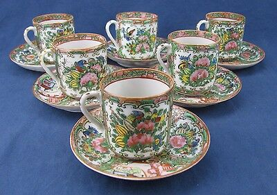 Six 19th Century Chinese Famille Rose Medallion Demitasse Cups & Saucers