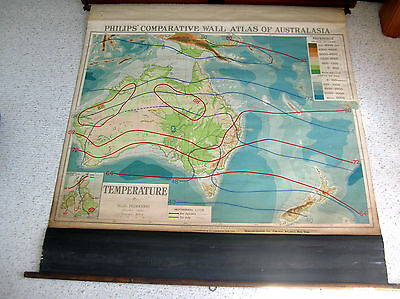 Vtg Pull Roll Down Denoyer Geppert School Map, Australia, New Zealand, Temp