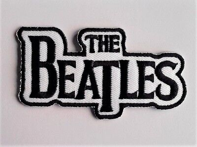 THE BEATLES White Ground embroidered applique iron-on patch