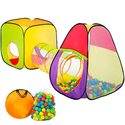 Children's tent - trolley with tunnel + 200 plastic balls - children's play