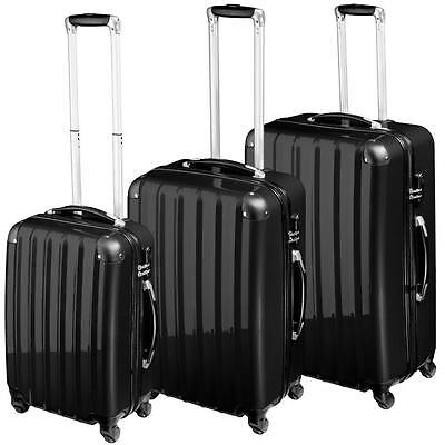 Set of 3 rigid travel cases with trolley wheels, color Black
