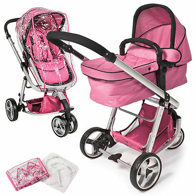 Baby carriage 3 in 1. Stroller ideal trip or ride, pink color