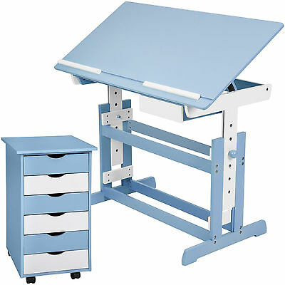 Childrens desk set + drawer with casters - colors blue white