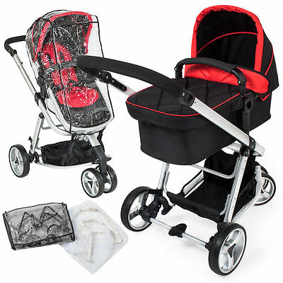 Baby carriage 3 in 1. Ideal stroller trip or ride, red color
