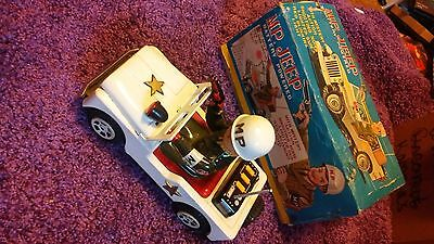 Vintage 1950's DAIYA Japan MP. JEEP Battery Operated Military Jeep w/Box WoRkS!