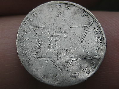 1857 Three 3 Cent Silver Piece- VG/Fine Obverse Details