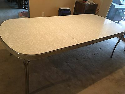 Vintage Chrome Mid Century Cracked Ice Kitchen Table & 4 Chairs - Huge