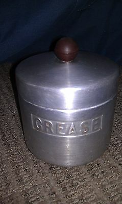 Vintage Aluminum REED Grease Jar Can Canister w/ Lid Houston Texas
