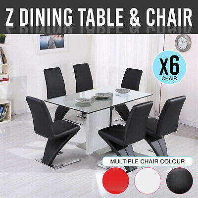 Dining Table With Chair 6X Red White Faux Leather Design Stainless Steel Base Z