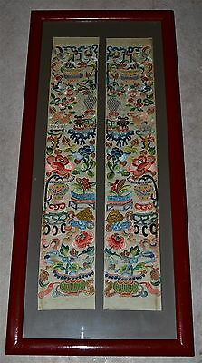 Antique Chinese Embroidered Silk Sleeve Bands Peking Knot Scholar's Objects