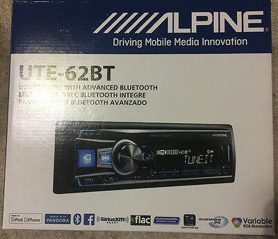 Alpine Ute-62Bt Bluetooth Mp3 Usb Ipod Wma Aux Iphone Equalizer Car Stereo New!