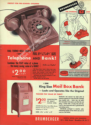1950 Brumberger Telephone and Bank & Mail Box Bank Toy Ad