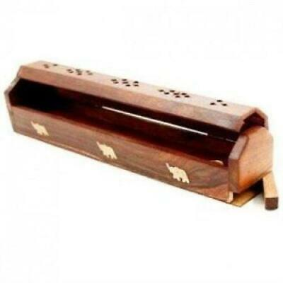 "Wooden Incense Burner 12"" COFFIN BOX Ying Yang print for sticks & 2 cones New"