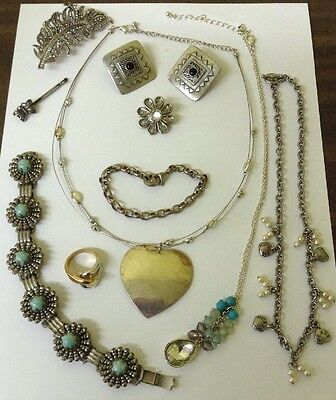 Vtg Silver Tone Costume Jewelry Lot Ring Necklaces Bracelets Earrings Broaches