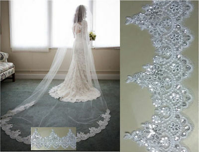 Pure hand-made Lace Edge Sequins Bridal Long Veil Cathedral Wedding Bridal Veil