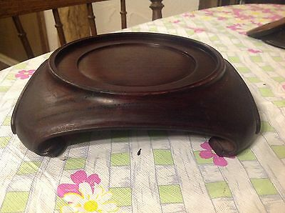 Antique Vintage ASIAN Wood Display Stand Hand Carved- 8 Inch Bought in 1950's