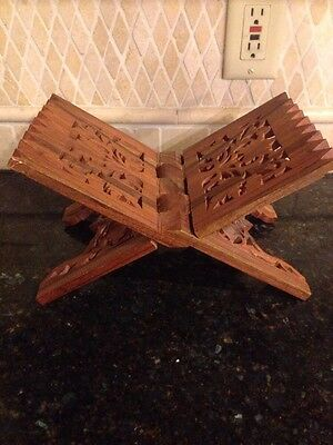 Wooden craved book bible stand folding made in india leaves leaf