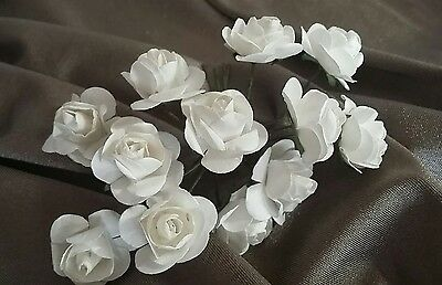 36 Small Artificial Paper Flowers Rose White Buds Scrapbooking Wedding /14/