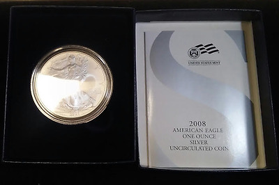 2008-W American Silver Eagle ASE Silver $1 Burnished OGP  (ASEUNC2008)