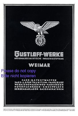 Weapons Gustloff Works Weimar XL 1942 German ad advertising eagle Werke +