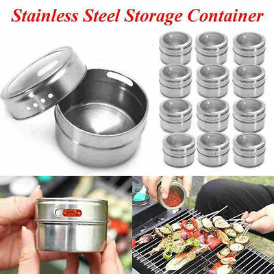 5/10x Stainless Steel Spice Tin Holder Storage Container Jar Clear Lid