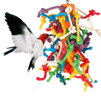Colorful Large Birds Cage Toys Parrot Hanging Wooden Swing Rope  Cockatiel Toy