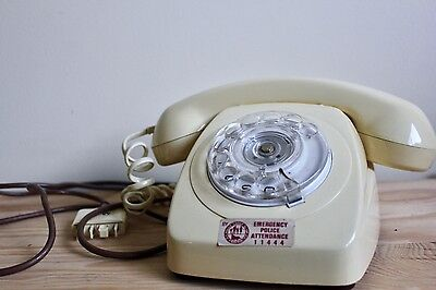 Vintage Phone Rotary Dial in Cream White with Dialer Stamped Australian Telecom