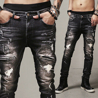 Mens Slim Straight Biker Jeans Distressed Ripped Denim Destroyed Pants Trousers