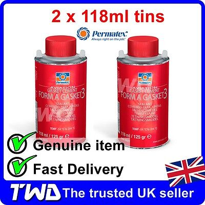 2 x PERMATEX AVIATION FORM A GASKET LIQUID SEALANT NUMBER 3 118ml 125g [2x35572]