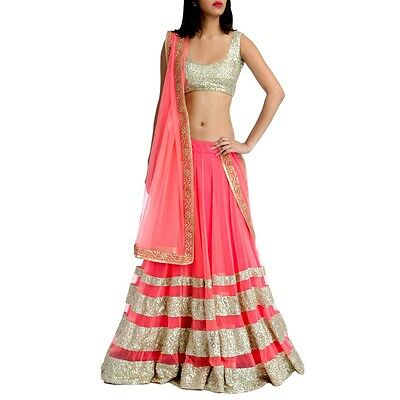 Designer Traditional Indian Ethnic Peach Border Work Net Bridal Lehenga Choli