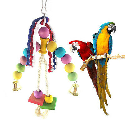 PARROT TOYS - Wooden Ball Hanging Chew Toys   Bird Cockatiel Pet Toy New