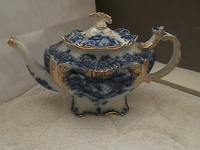 1912 +  Bourne And Leigh Footed Shaped Teapot In Blue And White Gold Colour Trim