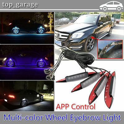 4x Multi-Color Car Fender Wheel Eyebrow LED Light Tire RGB Lights APP Control