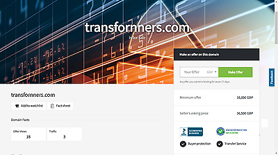 NEW Premium Domain For Sale  transformers.com