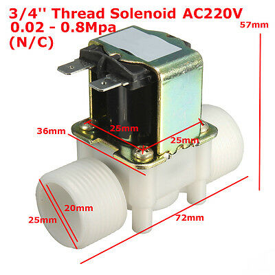 AC220V 3/4'' Electric Solenoid Valve For Water Air Flow Switch N/C Normal Closed