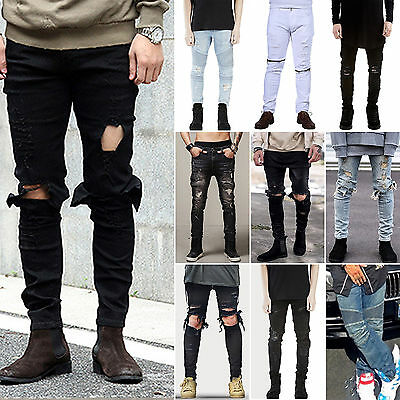Mens Slim Fit Denim Jeans Pants Destroy Jogger Skinny Distressed Ripped Trousers