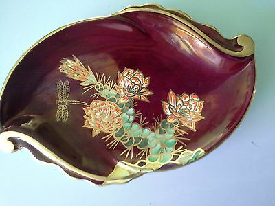 Beautiful Crown Devon Enamelled Rouge  Leaf Plate