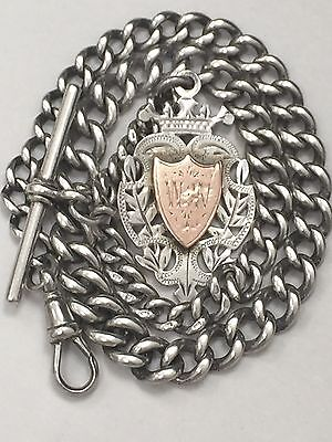 Antique silver albert pocket watch chain and fob birmingham 1894