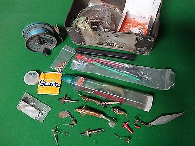 Old Vintage Fishing Assortment, Job Lot, Hand Made Lures, Floats, Reel, Weights