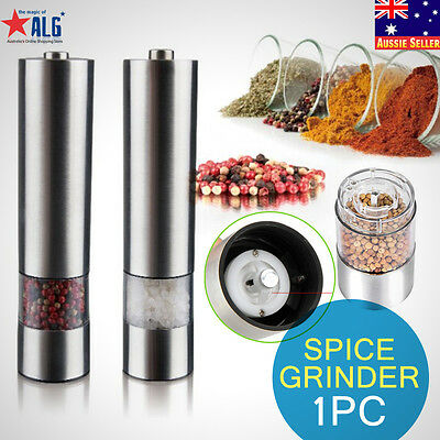 Automatic Electric Salt Pepper Stainless Steel Mill Grinder Spice Kitchen Tool