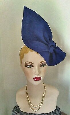Vintage Style, 1940S Style Royal Blue Sculptured Hat