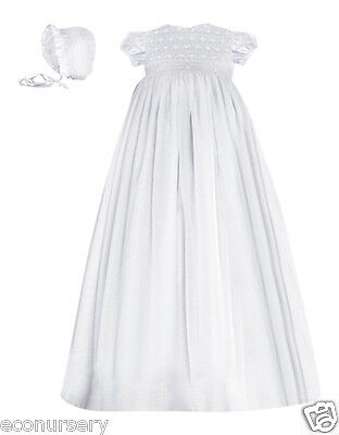 Aurora Royal Baby Girls Hand Smocked Pure Cotton Christening Gown, Bonnet & Bib.