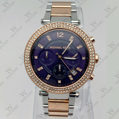 57d78120c72 New Michael Kors MK6141 Ladies 39mm Parker Two-Tone Blue Dial Women s Watch