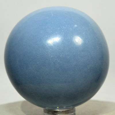 """2"""" Blue ANGELITE Sphere Polsihed Crystal Angel Stone Mineral Ball - Peru + Stand"""