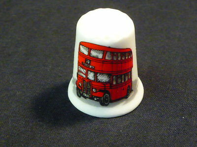 London Red Bus Fine Bone China Thimble