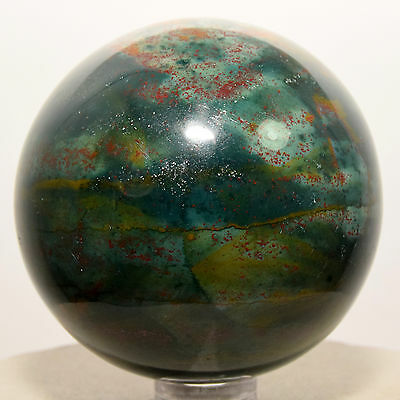 """2.2"""" Natural Bloodstone Sphere Red Green Heliotrope Crystal Ball - India + Stand"""