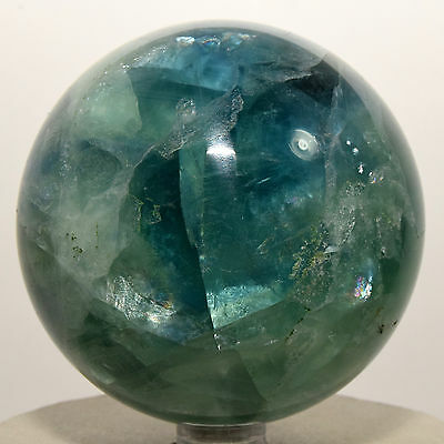 """2.8"""" Rainbow Blue / Green Fluorite Sphere Gemstone Crystal Mineral China + Stand"""